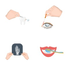Examination of the tooth, instillation of the eye and other web icon in cartoon style. A snapshot of the hand, teeth cleaning icons in set collection.