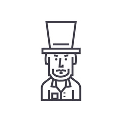 president usa,abraham lincoln vector line icon, sign, illustration on white background, editable strokes