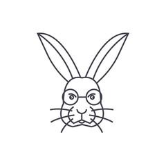 rabbit head vector line icon, sign, illustration on white background, editable strokes