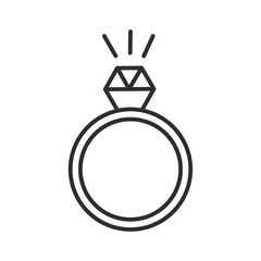 ring with diamond vector line icon, sign, illustration on white background, editable strokes