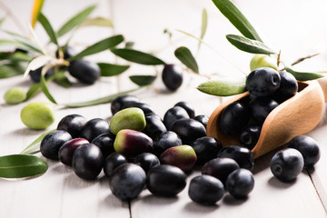 Fresh Black Olives On An Olive Branch With Leaves