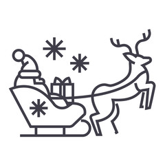 santa claus in a sleigh with a deer vector line icon, sign, illustration on white background, editable strokes