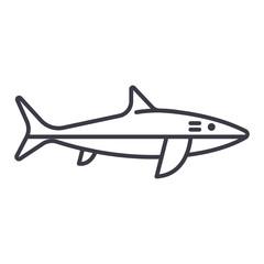 shark vector line icon, sign, illustration on white background, editable strokes