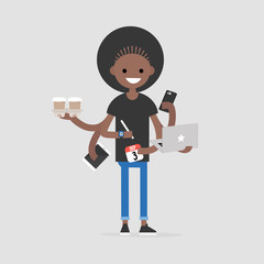 Intern, conceptual illustration. Multitasking millennial concept. Young black girl with six hands doing a lot of tasks at the same time  / flat editable vector illustration