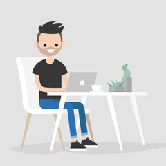 Working space. Young male character typing on a laptop / flat editable vector illustration, clip art