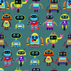 Estores personalizados infantiles con tu foto A cute, small, friendly blue with a red robot, with antennas and wires, kind vintage eyes and comic style inscriptions. Abstract seamless pattern for girls or boys. Creative vector print