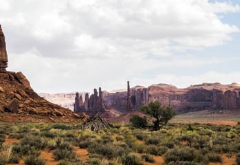 Monument Valley, Totem Pole, pile of wooden, old tree - Arizona, AZ, USA