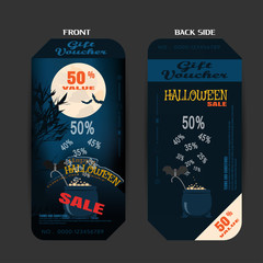 Vector blank of gift voucher to Halloween sale on the gradient blue background with magic cauldron.