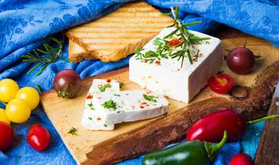 Cheese with vegetables and toasted bread