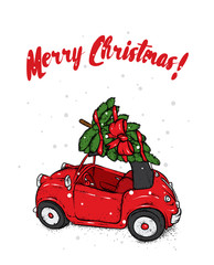 Retro car with a Christmas tree on the roof. Vector illustration. New Year's and Christmas.