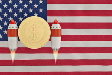 American flag blowing in the wind and gold coin rocket.3D illustration.