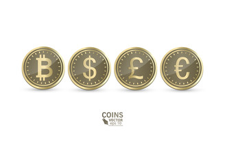 A set of icons of coins on the isolated white background.Bank notes dollar, Bank notes euro, pound sterling. Symbols of currencies in 3d style. Vector illustration.