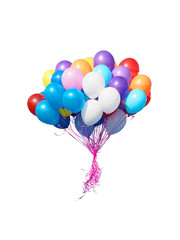 Colorful balloons bunch filled with helium isolated on white background. Bunch of red, blue, white, orange, yellow and violet balloons