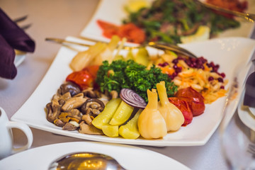 Salad in a plate. Catering service concept