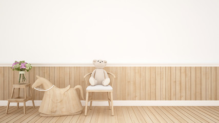 teddy bear on chair and rocking horse in kid room or nursery - Interior Design - 3D Rendering
