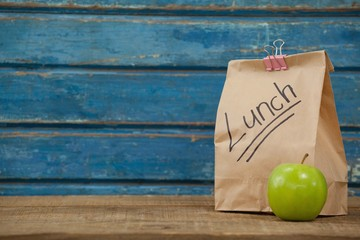 Apple and lunch bag