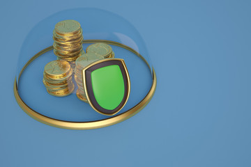 Gold coin stacks in glass bell with gold base on blue background.3D illustration