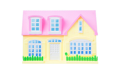 Isolated toy house over white background include clipping path