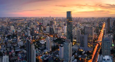 Aerial view panorama of Bangkok City in morning twilight