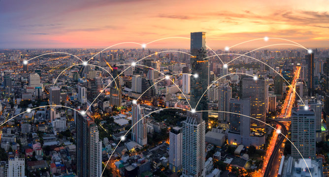 Bangkok cityscape with network connection concept