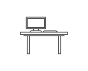 Table with monitor isolated icon in linear style