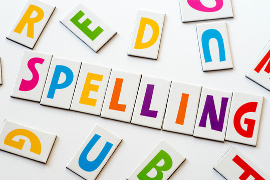 word spelling made of colorful letters
