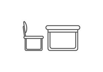 Desk with chair isolated icon in linear style
