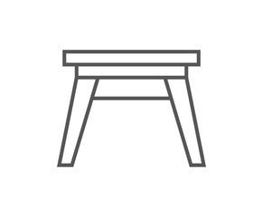 Wooden stool isolated icon in linear style