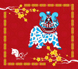 Chinese new year 2018. Year of  the dog background with lion dance