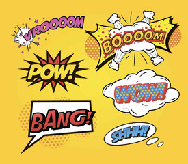 Speech bubbles Comics speech and exclamations.