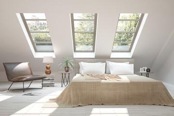 Inspiration of white minimalist  bedroom with summer landscape in window. Scandinavian interior design. 3D illustration