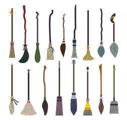 Set of different witch brooms colorful on halloween