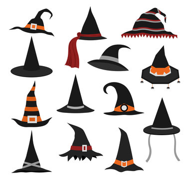 Set of different witch hats on halloween