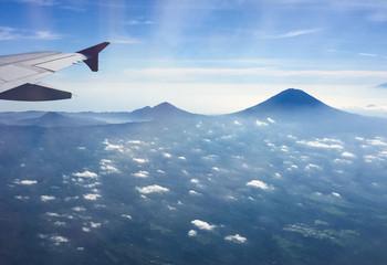 Mount Rinjani Volcano view  from airplane