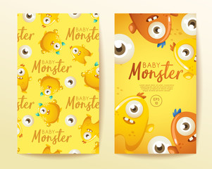 Colorful Cute  Monsters Set : Vector Illustration