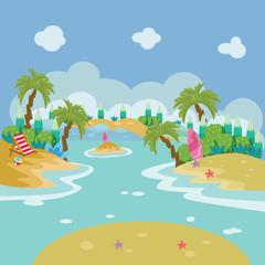 River Cartoon Vector Illustration