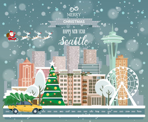 Christmas greeting card. Poster in flat style. Merry Christmas and Happy New Year, Seattle