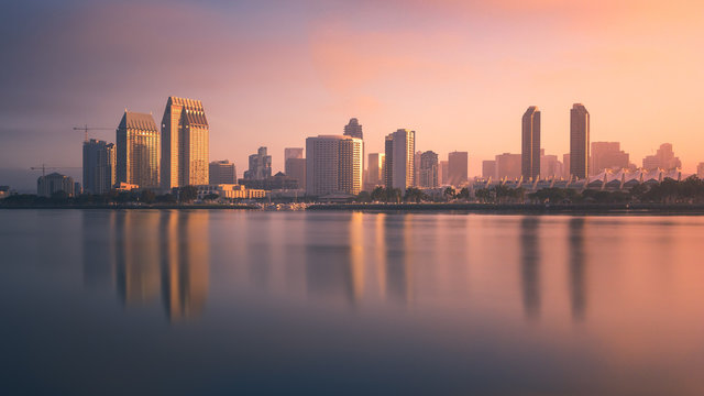 Colorful sunrise covers downtown San Diego