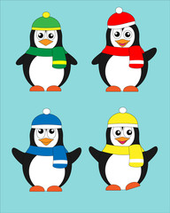 set of penguins in colorful hat and scarf