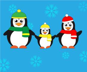 милая семья пингвинов. векторная иллюстрация