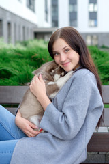 Beautiful young woman sitting on wooden bench and enjoy with her cute little dog husky