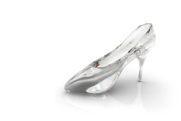 3D image of Cinderella's glass slipper isolated on white
