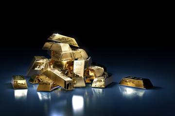 Pile of gold bars or ingots on a dark background - 3D illustration