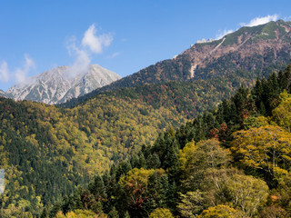 Early fall colors in Japanese Alps - view from Shin-Hotaka ropeway in Gifu prefecture, Japan