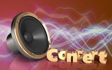3d loud speaker concert sign