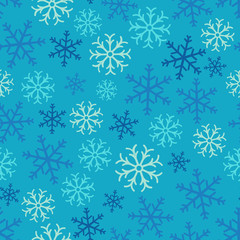 Snowflake simple seamless pattern. Abstract wallpaper, wrapping decoration. Symbol of winter, Merry Christmas holiday, Happy New Year celebration.Seamless pattern of snowflakes on a blue background