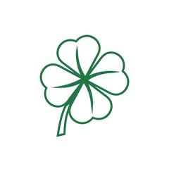 Simple Line Clover with four leaves