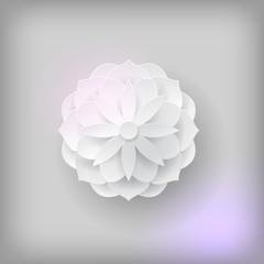 Paper volume flower light background. Paper volume flower on a light background for designers and illustrators. A bulk plant in the form of vector illustration