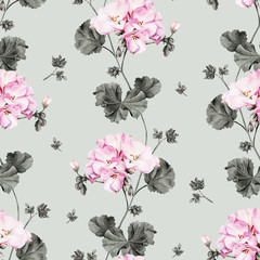 Geranium watercolor flower seamless pattern