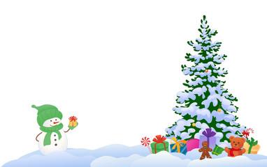 Snowman and Christmas tree